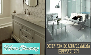 Cleaning services showing both inside a home and at a commercial office