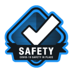 a blue safety badge showing that Jay's One Stop Cleaning Services is Covid-19 safe in the workplace